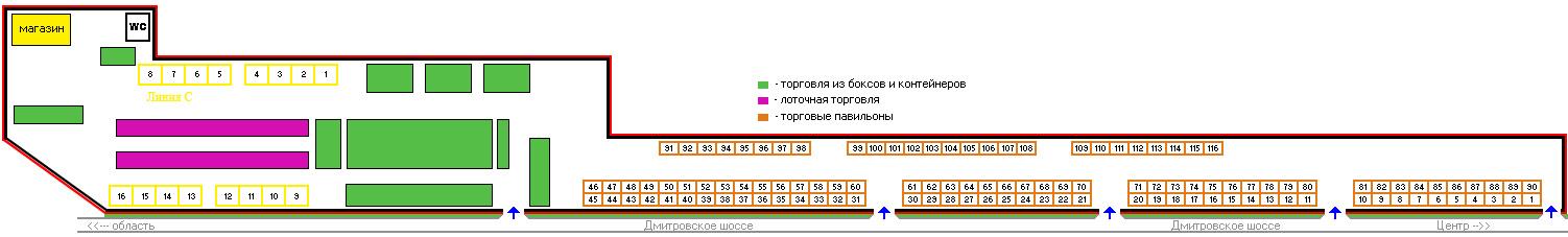 """Схема рынка """"Дмитровский двор"""""""