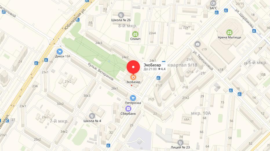 ЭкоБазар в Мытищи на карте