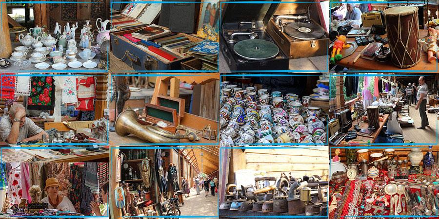 Разнообразные товары на Блошином рынке в Измайлово