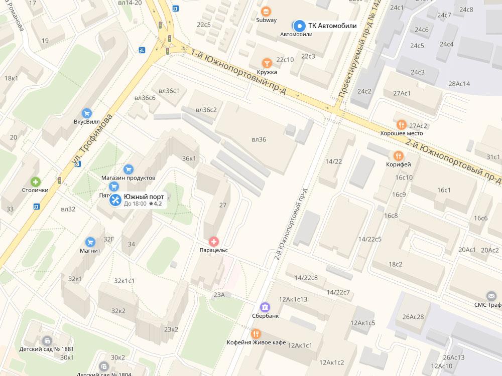"""Расположение рынка """"Южный порт"""" на карте"""
