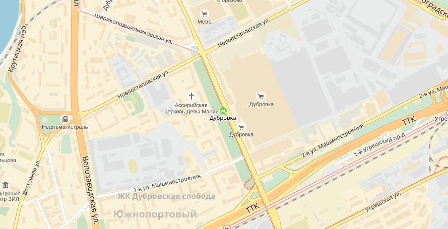 Карта расположения рынка Дубровка