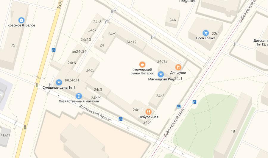 Расположение Коптевского рынка на карте