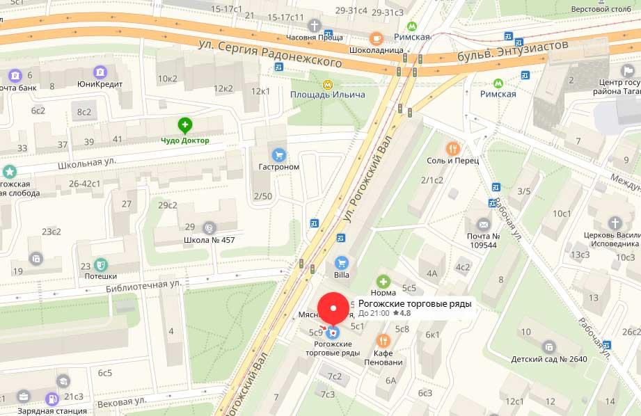 Рогожский рынок на карте