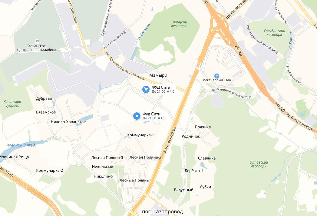 Расположение ФудСити на карте